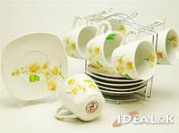"""Чайный сервиз 12-ти предметный  HP- 10 """"Орхидея беж"""" (6 чашек +6 блюдец)"""