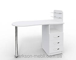 """Маникюрный стол """"Эстет №1"""" cо стеклянными полочками"""