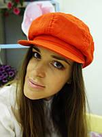 Летняя льняная кепка оранж, фото 1