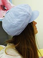 Льняная нежно-голубая кепка восьмиклинка