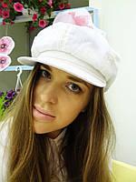 Белая льняная кепка восьмиклинка