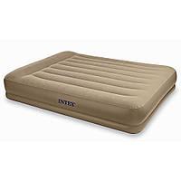 Матрац-кровать надувной Intex велюровый 203х152х38 см со встроенным насосом