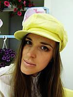 Желтая льняная кепка восьмиклинка