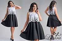 Стильный юбочный костюм белая коттоновая рубашка+чёрная высокая юбка, батал. Арт-5603/21