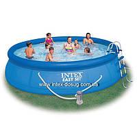 Надувной бассейн Easy Set Pool Intex 56409 (457х107 см. ) + насос-фильтр, лестница, тент, подстилка., фото 1