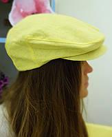 Летняя льняная кепка желтая, фото 1