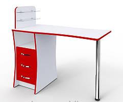 """Маникюрный стол """"Элегант"""" cо стеклянными полочками"""