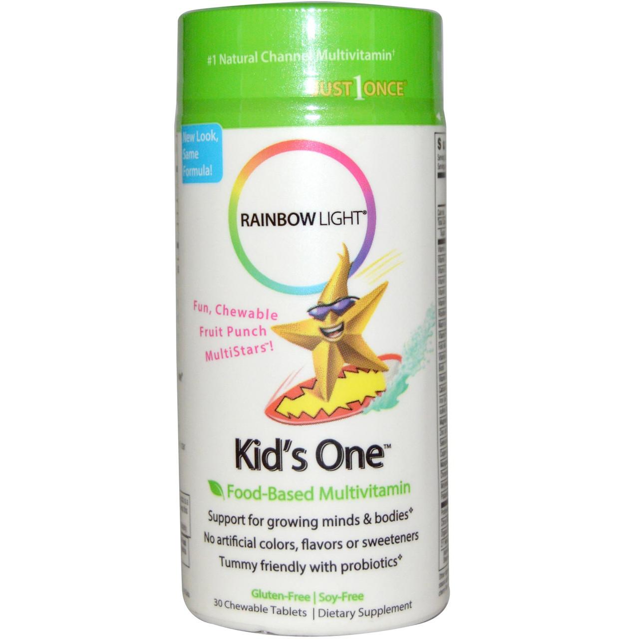 Мультивитамины для детей на фруктовой основе, Rainbow Light, Kid's One, MultiStars, 30 жевательных таблеток