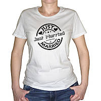 "Женская футболка ""Just Married Штамп"""