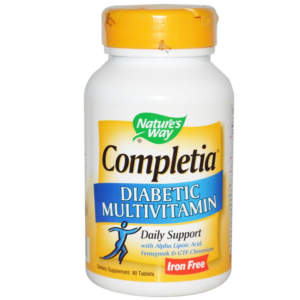 Витамины для диабетиков Nature's Way, Completia, без железа, 90 таблеток