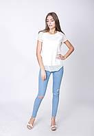 Модная женская летняя футболка с ажурными вставками