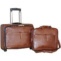 Стильный чемодан на колесах с сумкой двойка (Brown), 510332