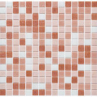 Мозаика для стен стекло Progres GLmix10 бежевая с белым