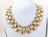 Ожерелье ошейник в форме ячеек, золотистое