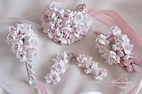 """Свадебные украшения """"Бело-розовые фрезии""""(заколка 9 см+серьги длинные +браслет+бутоньерка)"""