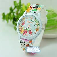 Женские часы силиконовые Geneva с оранжевым цветочным принтом, фото 1