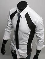 Мужская стильная рубашка с длинным рукавом белая