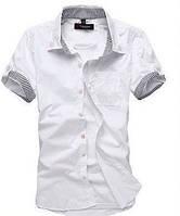 Мужская стильная рубашка с коротким рукавом белая