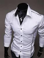 Мужская стильная рубашка  с длинным рукавом - белая