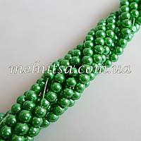 Бусины под жемчуг, керамические, 4мм, цвет зеленый, 50шт.