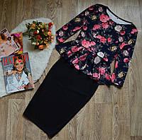Костюм-баска  + юбка р. 42,44,46 цветы