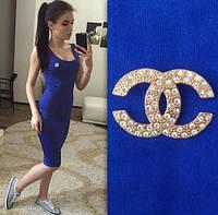 """Женское Платье - майка длинное """"Chanel""""  электрик р. 42,44,46,48"""