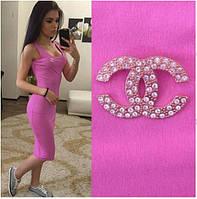 """Женское Платье - майка длинное """"Chanel"""" розовое  р. 42,44,46,48"""
