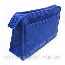 Косметичка женская стеганая универсальная (6 отделений) Baoyun-427/blue  24*15*7 см, фото 3
