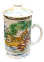 Чашка заварник с ситечком подарочная Китайские орнаметы, фото 1
