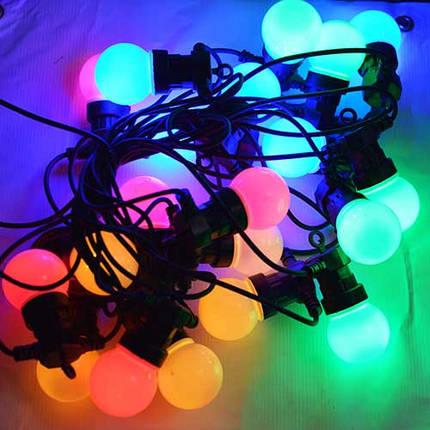 Led гирлянды, белт лайт SL LIGHT шар G50  10 метров 20 ламп разноцветные, молочная колба, фото 2