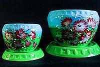 Набор цветочных горшков зелено-голубого цвета