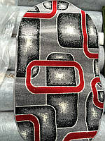 Ковер овал Фриз серо-красный 1,5х2