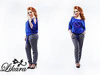 Модный женский костюм серые брюки с принтом+синяя блуза, батал. Арт-5614/21