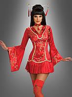 Японское красное платье с воротником