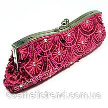 Клатч вечерний розово-малиновый на фермуаре с бисером и пайетками 28*12*6 см, фото 2