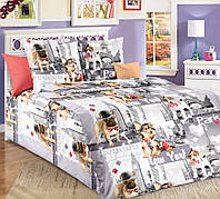 Ткань для детского постельного белья с мопсами, бязь Евротур
