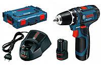 BOSCH GSR 10,8 V-2-LI Professional - Акумуляторний дриль-шупуповерт, L-BOXX, 2,0 А*год