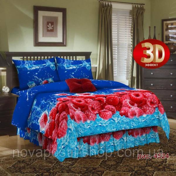 Ткань для постельного белья, бязь хлопок Малина 3D