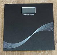 """Весы напольные черное стекло с 3D рисунком """"Квадрат Бесконечности"""""""