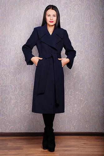 Синее пальто весеннее из кашемира Д 38