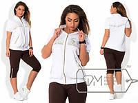 Женский спортивный костюм с бриджами Камни  DMS \ белый, фото 1
