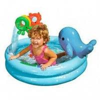 Бассеин 57400 круглый, с дельфином и игрушками, 90-53 см