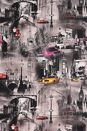 Портьерная ткань (принтованная) для штор. Рисунок: Огни больших городов.