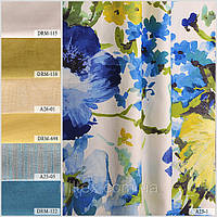Ткань для штор (портьерная) принтованная. Рисунок: Цветочный бриз. Цвет - мультиколор.