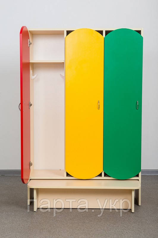 Шкафчик в детский сад с лавкой цветной