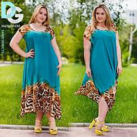 Платье двойка трикотажная майка + шифоновая накидка с разрезами сбоку Батал! бат 56 (ГЛ)