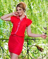 Комбинированное женское платье мини на пуговицах с коротким рукавом шифон гипюр