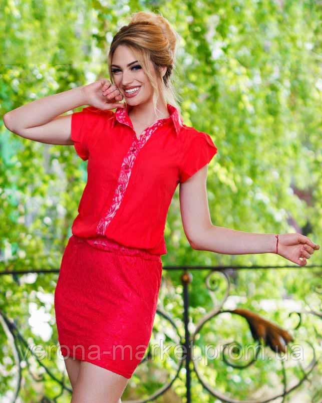 Платье с пуговицами и коротким рукавом
