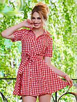 Летнее женское платье рубашка в клетку под пояс с расклешенным низом х/б