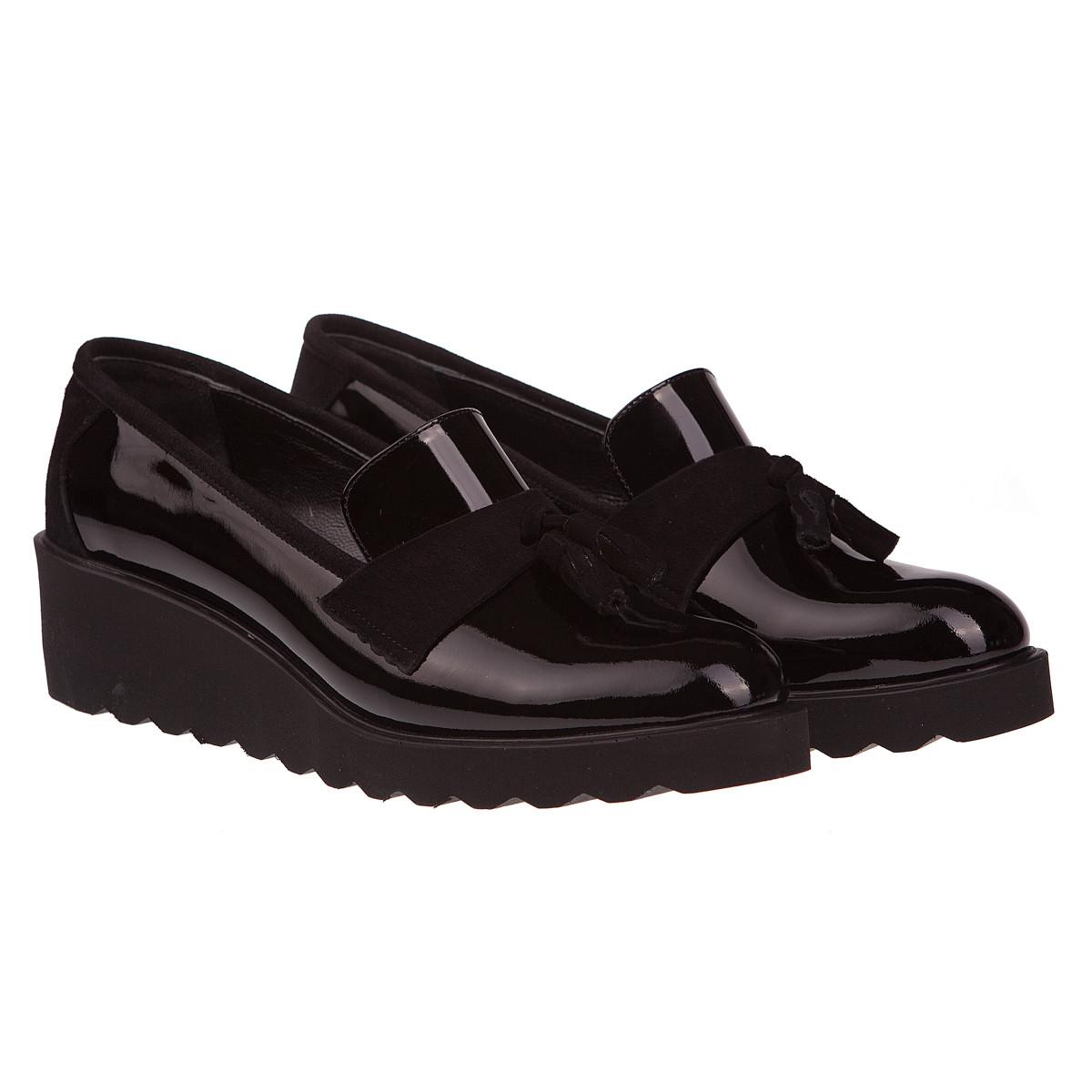 86ea2a14a76c Туфли лоферы женские Ripka (лаковая натуральная кожа, стильные, удобные, на  танкетке)